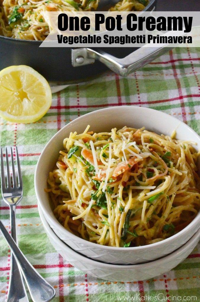 One Pot Creamy Vegetable Spaghetti Primavera