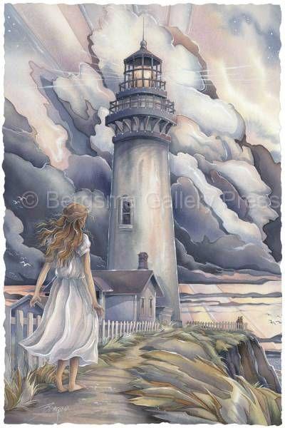 A Light After The Storm by Jody Bergsma ~ lighthouse ~ girl