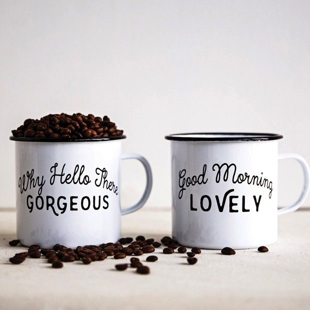 """Enameled Mug With Saying, Set of 2. Our black and white mugs will be a fun, fresh addition to your decor. This Enameled Mug With Saying, Set of 2 will look gorgeous hanging from a mug rack or in your hand while you sip coffee. Be greeted by the messages of """"Good Morning Lovely"""" and """"Why Hello There Gorgeous."""" Perfect as a housewarming gift or everyday coffee mugs. Affiliate Link."""