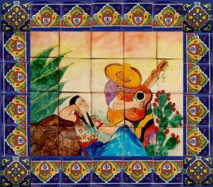 painel de azulejos mexicanos