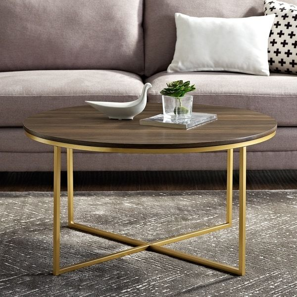 Silver Orchid Ipsen 36 Inch Round Coffee Table With X Base 36 X