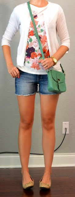 Outfit Posts: outfit post: floral shirt, white cardigan, jean shorts