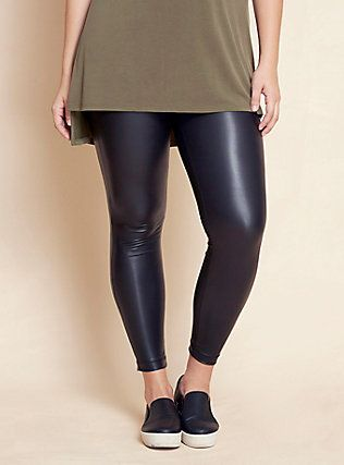Plus Size Faux Leather Leggings, BLACK