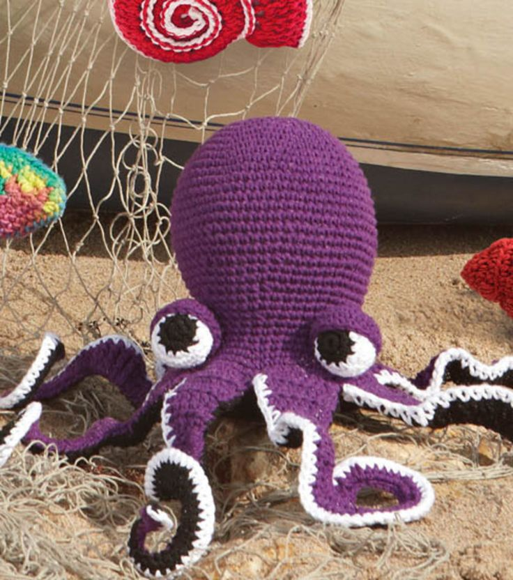 Change the colors to orange and move the eyes up and you can crochet your own Hank the Octopus from Disney Pixar's Finding Dory. Bernat Pattern available for free from Joann.