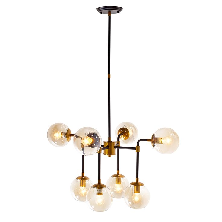 £149, The multi globe pendant light is a great statement light for the living room or dining room. With a drop of 100cm the 8 amber glass globe shades cover the bulbs letting out the perfect amount of light. The 8 globes sit at two levels on a gold and black fitting. The pendant has a non adjustable height drop and is mains fitted.