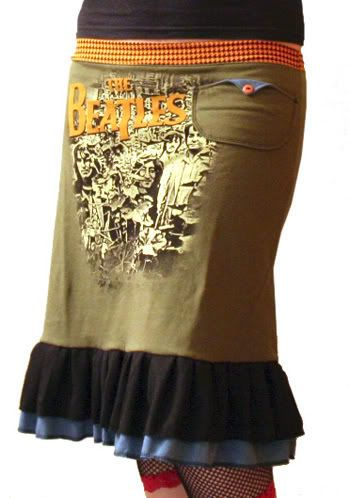 Turn an old t-shirt into a funky skirt. Love this idea.