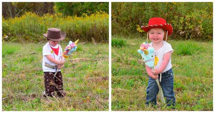 CostumeIdea: Woody and Jessie from Toy Story Featured Hat: Eddy Bros. Woody Kids Cowboy Hats in Pecan & Red. Recommended Extras: Jeans, leather vest, cowboy boots, hobby horse, fake gun w/ holster, rope