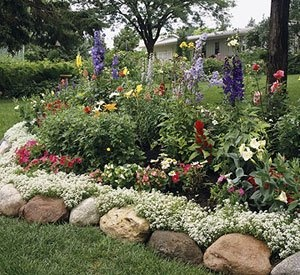 Rock edging for flower beds - round rocks with ground cover behind