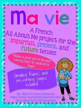 Do you need a fun way French project for the present, imparfait, and future tenses?  If so, then you will love this project!  I like to use it as a memory book at the end of the year, because it makes a really nice keepsake for the students and really shows off all that they have learned!Students create a book about themselves, detailing who they were when they were younger, who they are now, and who they will be as an adult.