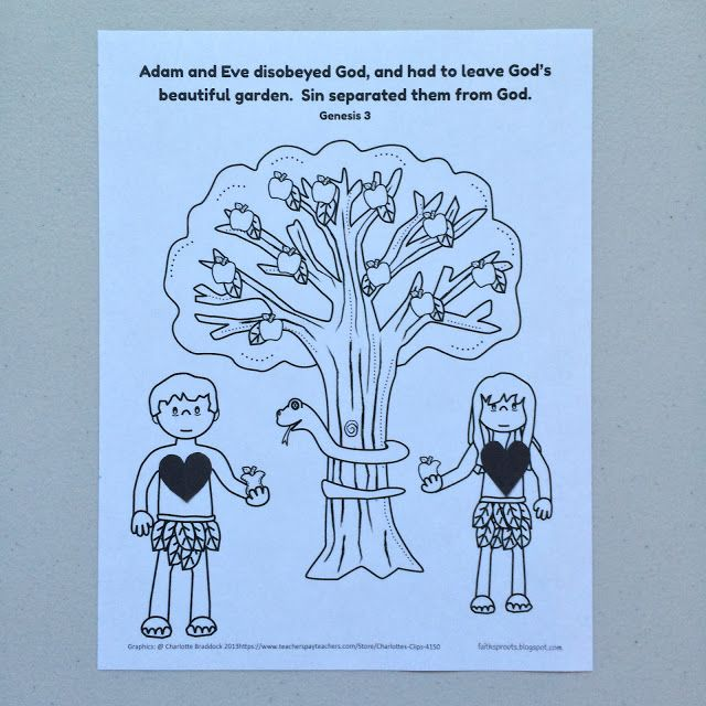Adam and Eve sinned activity sheet for preschoolers.