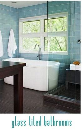 glass tiled bathrooms
