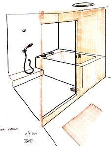 Sekisui Bathroom Unit Sketch, A standard Japanese bathroom is divided by a wall with a door that separates the dry changing and toweling area from the washing area.