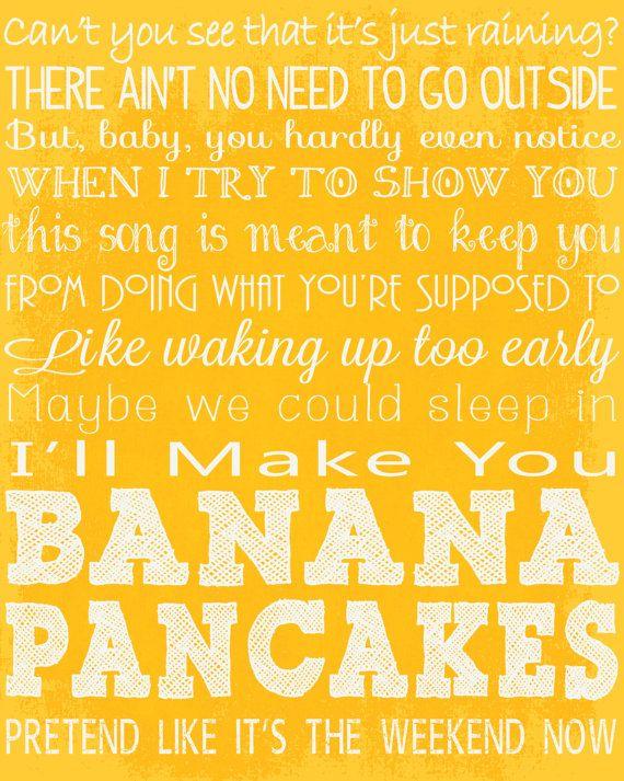 Banana Pancakes Song Lyrics 16x20 Digital by AinslieLaneStudio