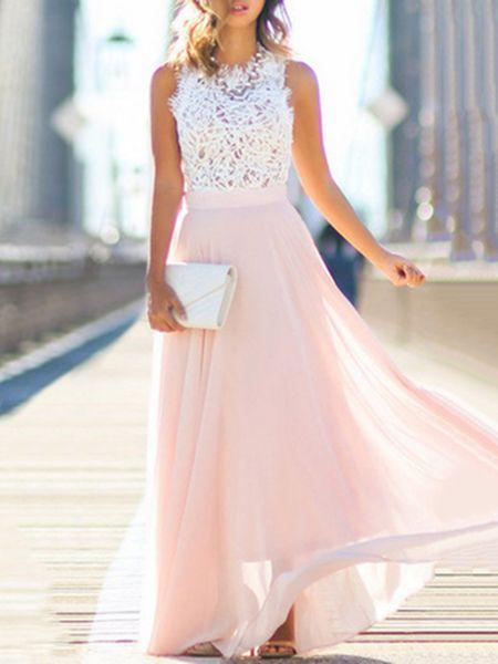Stehkragen Frauen Swing Chiffon Elegantes Blumenkleid