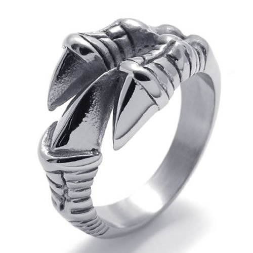 KONOV Jewelry Polished Stainless Steel Gothic Dragon Claw Biker Mens Ring, Color Silver – Size 12 | http://www.bikeraa.com