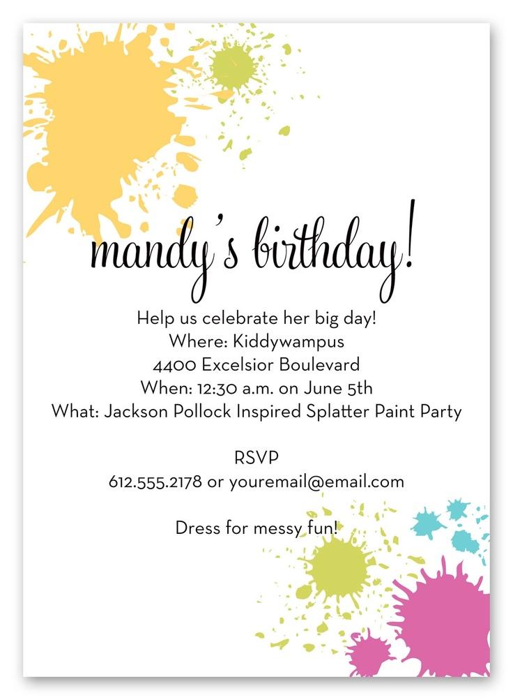 Paint Splatter Party Invite Party Ideas Kids Art Party