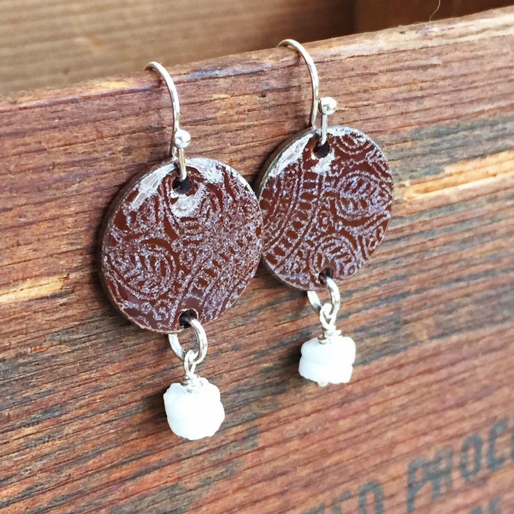 Boho Indie Style Earrings, Torch Fired Enamel Jewelry, Tribal Style Jewelry, Penny Earrings, Dangle Style Silver and White Shell Earrings by kyleemaedesigns on Etsy