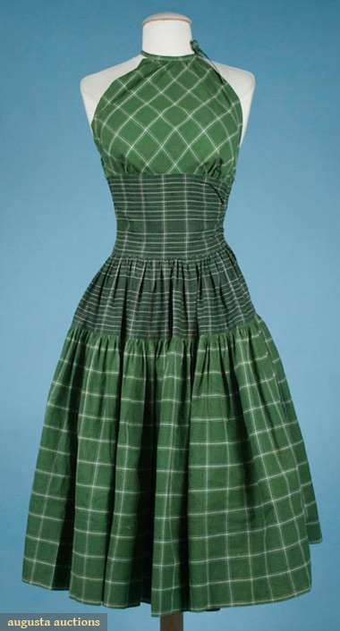 1955 BONNIE CASHIN MADRAS PLAID SUNDRESS, Kelly green & white square plaid bodice & skirt, halter bodice cut on bias, wide midriff band & skirt top band of hunter green & white narrow plaid, side zipper