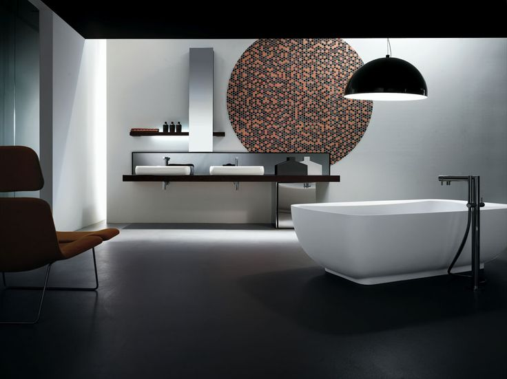 KUBIK 55 - Wengè composition, ceramic washbasins mod. Ring 80, wengè base unit on wheels covered with steel. Free-standing Milltek bathtub mod. Ring.