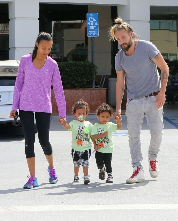Zoe Saldana heads out in Los Angeles with her husband Marco Perego and their twins Cy and Bowie