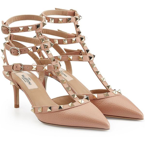 Valentino Rockstud Leather Kitten Heels ($800) ❤ liked on Polyvore featuring shoes, pumps, beige, beige pumps, real leather shoes, leather footwear, kitten heel shoes ve leather pumps