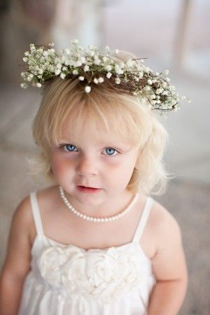 Classic white flower girl outfit with flower hair wreath | photography by http://www.ginameola.com/