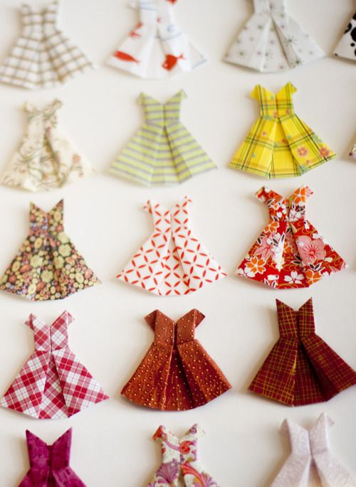 These paper origami dresses would be perfect dress up items for a paper doll. A great idea to send to your sponsored girl!