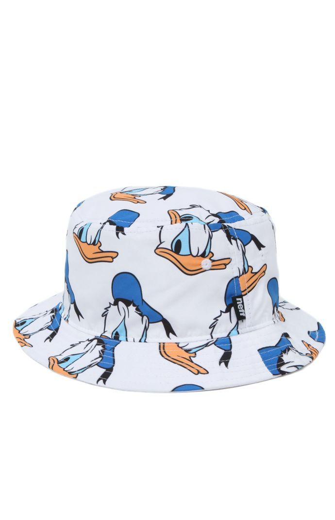 PacSun presents the Neff Donald Bucket Hat for men. This trendy men's bucket hat is the newest of Neff's Disney Collection and offers a bright Donald Duck print throughout the white cap.	Allover multi color print bucket hat	Neff logo loop on side	One size fits most	Dry clean only	100% polyester	Imported