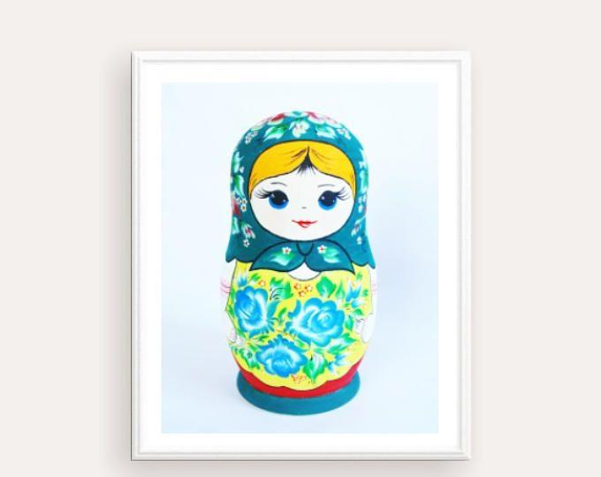 Russian Matryoshka Poster, Digital Print Russian Nesting Doll, Folk art print, printable artwork, Doll Print