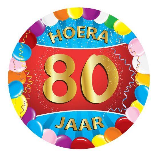 25 stuks vrolijk gekleurde bierviltjes met 80 jaar opdruk voor een 80ste verjaardag. Dubbelzijdig bedrukt.