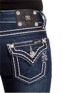 Miss Me Jeans Thick Stitch Plain Pocket love my Miss Me jeans