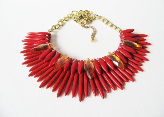 Red Tribal Necklace  Polished Stone  Amber by WhimsicalEverAfter