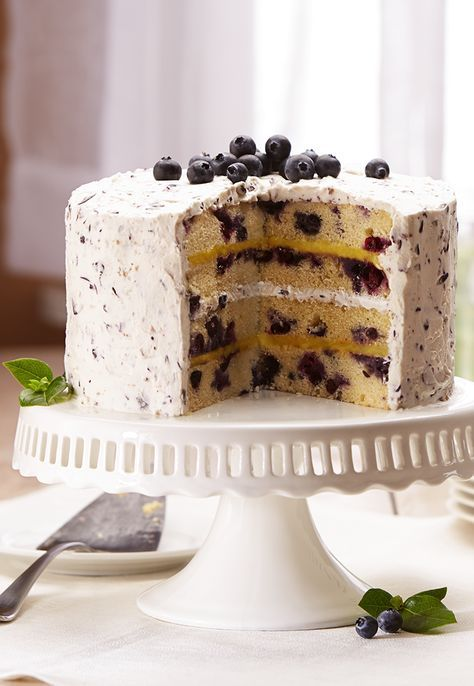 Layers of fluffy cake, fresh blueberries and lemon curd make this spring recipe a must-make.