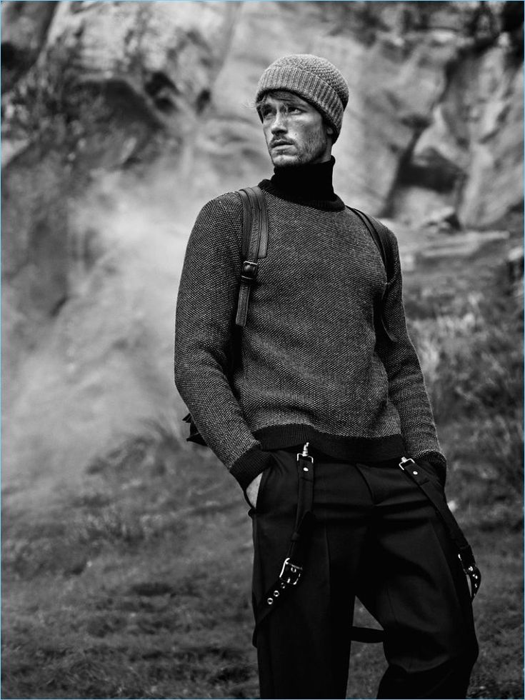 STEPHAN SCHNEIDER sweater £250; DIOR HOMME polo neck £230 and trousers £490; HUGO BOSS hat from a selection; LOEWE backpack from £1,725