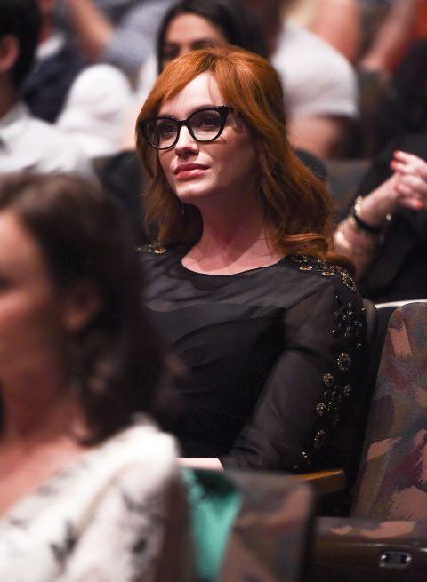 Davis Vision – Actress Christina Hendricks looks glamorous in her black-rimmed specs. #eyeglasses