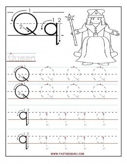 Printable letter Q tracing worksheets for preschool - Printable Coloring Pages For Kids
