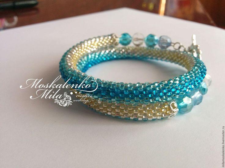 Купить Двойной браслет из бисера - браслет, жгут из бисера, бисерный жгут, вязанный браслет, синий