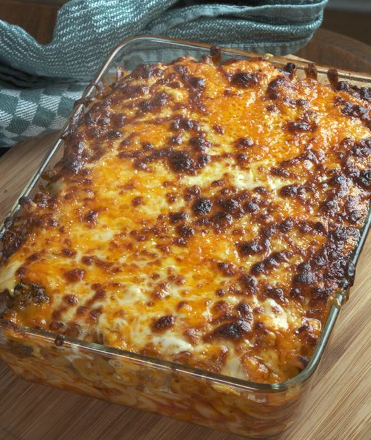 Macaroni and Beef with Cheese, just out of oven
