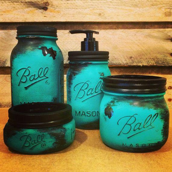 Mason Jar Bathroom Set Rustic Turquoise Mason by AmericanaGloriana