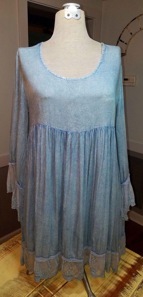 Velzera Plus Size Blue Dress With Lace Boho Gypsy Lightweight Rayon 1X NWT #VELZERA
