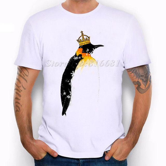 Fashion New Design T Shirt Penguin king T-shirt Men Cool Short Sleeve Retro Printed Summer