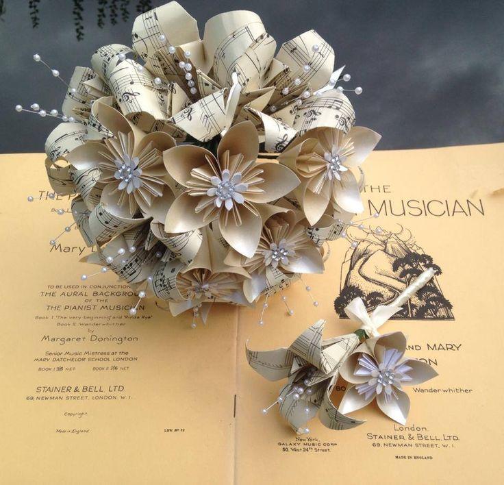 Handmade paper flower Vintage Music Sheet  Bridal Bouquet & Buttonhole set