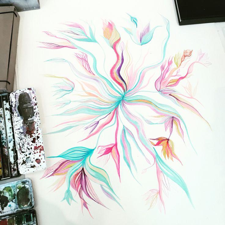 Art work in progress Watercolour - waterflowers series by Anna Gabriella