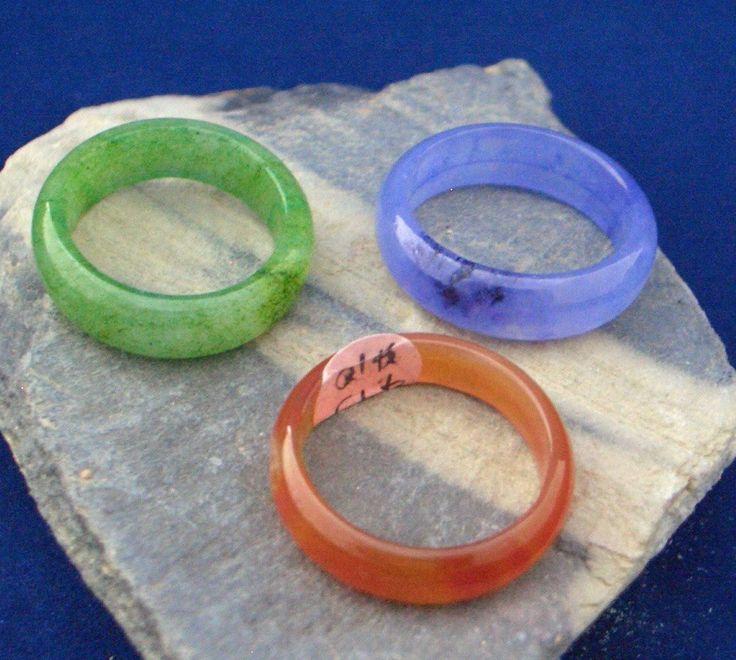 3 Gemstones: Genuine Orange Carnelian, Reconstituted Green and Violet Jade, Ring…