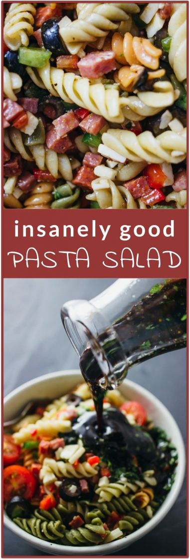 Insanely good pasta salad - This is a ridiculously good pasta salad that anyone can make. It's simple and easy with only 3 steps and it's a one-pot type of recipe! It's a cold hearty pasta that's full of healthy vegetables with fresh bell peppers, sliced black olives, and grape tomatoes. Also, I LOVE the Italian dressing that's so simple yet so tasty -- it's got olive oil and balsamic vinegar (yum!) plus some fresh herbs. | savorytooth.com