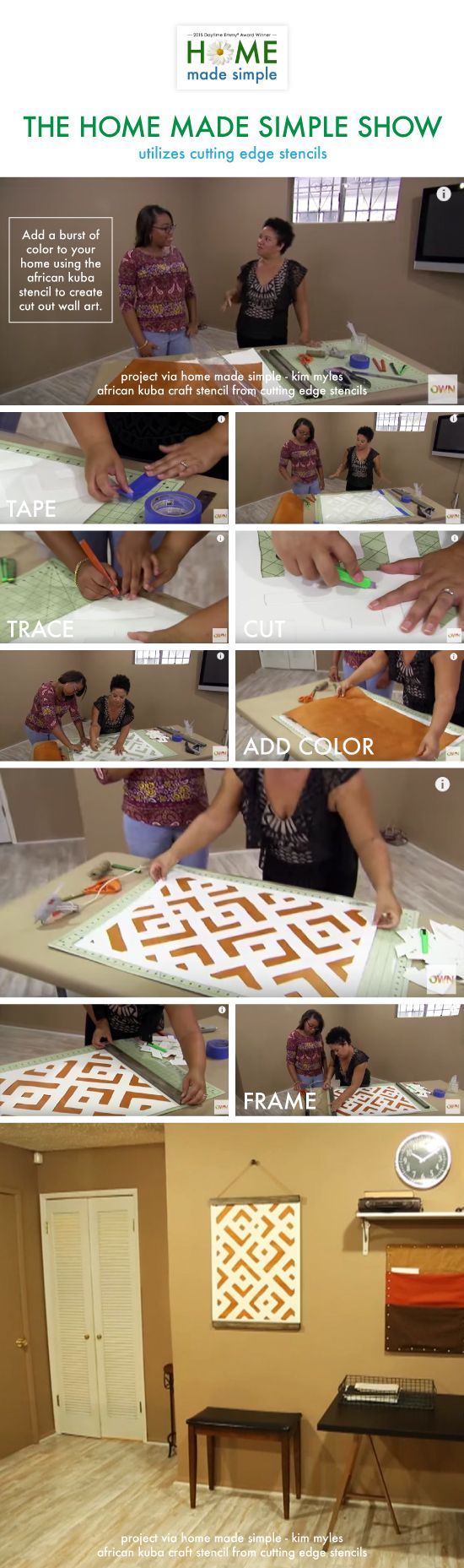 The Oprah Network's Home Made Simple Show features Kim Myles using the African Kuba Craft Stencil to create DIY wall art. http://www.cuttingedgestencils.com/kuba-stencil-pattern-stencils.html