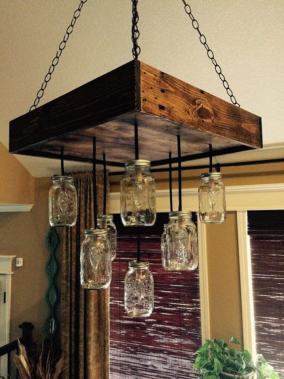 Mason jar chandelier repurposed wood 9 jar pendants by Lovemade14