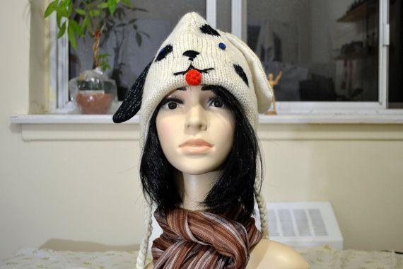 White dalmatian dog woolen hat animal hat chullo by HatsMittensEtc