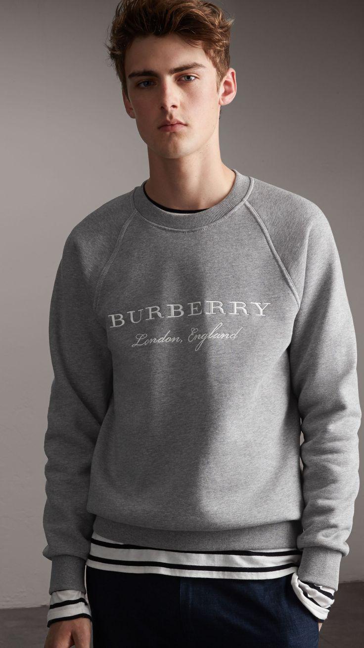 Burberry - Felpa in jersey con ricamo (Grigio Pallido Mélange), taglia M // 350€