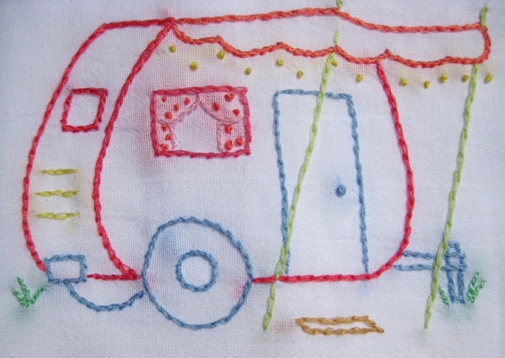 Embroidery: Vintage Trailers, Vintage Caravan, Crafty Things, Embroidered Campers, Beehive Cottages, Travel Trailers, Sweet Home, Vintage Teas Towels Crafts, Tear Drop